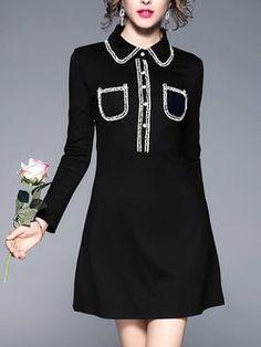 Black Shirt Collar Pockets Plain Long Sleeve Mini Dress