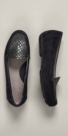 """suede & snake print black driving moc - love the extra """"pop"""" of the snake"""