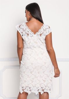 Plus Size Clothing | Plus Size Floral Embroidered Scallop Dress | Debshops