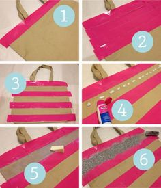 how to evenly stripe a bag with glitter #diy