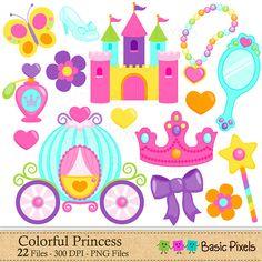 Colorful Princess Clip Art Princess clipart by basicpixels