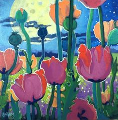 "Daily Paintworks - ""Poppies Under the Moon"" - Original Fine Art for Sale - © Alida Akers"