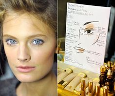 """Get the Look: Anthony Vaccarello Spring 2013 - """"I used texture in the makeup look to mimic the new line and matched the silky fabrics with soft metallics in wearable shades of color,"""" Estee Lauder makeup artist Tom Pecheux explained."""