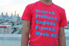 Sixers Phillies Eagles Flyers & Meek Mill. Philly Shirt - Philadelphia HipHop Hip Hop Since 1987 019 N6210RED
