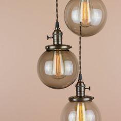 Triple Light Chandelier - Cascading Pendant Lights - Smoke Glass Globes - Edison Light Bulbs