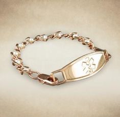 The Pearl Rose gold medical alert bracelet is a classy addition to anyone's wardrobe. This rose gold-plated chain bracelet is accented with pearls making this a unique accent to dress up your attire. Pearl Rose, Rose Gold, Diabetic Bracelets, Medical Id Bracelets, Bracelet Sizes, Bracelet Designs, Stainless Steel Bracelet, Silver Bracelets, Medicine