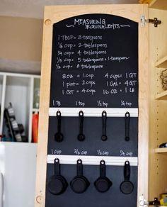kitchen storage cabinet with recipe