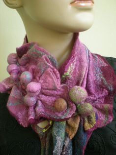 Wet NunoFelted Scarf neck warmer Very unique by nadiamod