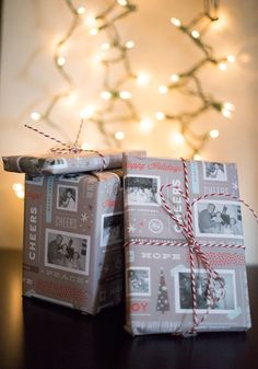 home printed wrapping paper using template and old family photos