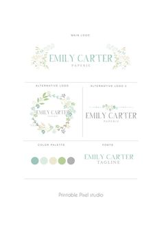 Branding package Mint green  Brand identity Logo by PrintablePixel