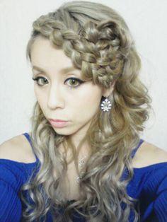 Hairset Hairstyles Braids Bangs コサージュ Flower  ヘアセット 編み込み ヘアセット  Photo by Welina  Japan