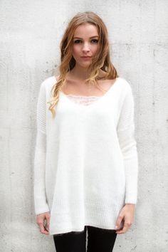 Pull angora et laine blanc