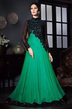 Green Silk Fabric Embroidered Gown Style Party Wear Anarkali Suit  #green #black #indian #silk #anarkali #gown #partywear