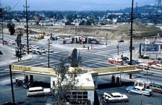 1960 Riverside & Fletcher Dr , originally uploaded by . AS SEEN FROM Red Car property, toward Atwater Village and Glendale. Atwater Village, California History, Southern California, Vintage California, Orland Park, Riverside Drive, West Los Angeles, Old Gas Stations, Echo Park