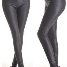 Womens Deep Metallic Faux Leather Stretch Leggings