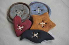 Handmade Salt Dough Primitive Folk Art Bowl Fillers Buttons, Heart, Crow, Star #Country