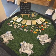 Today's Tuff Spot: phonics themed. Little shopping lists with decodable words and sound buttons. The children enjoyed playing in a group; Eyfs Activities, Nursery Activities, Classroom Activities, Learning Activities, Activities For Kids, Jolly Phonics Activities, Teaching Resources, Phonics Games, Teaching Phonics