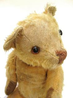 A loved little buddy :)    Poor Sweet Antique 30s Merrythought Mohair Teddy Bear - Shabby Sad Worn Loved Cuddly Character Old Vintage Stuffed Animal Toy. $110.00, via Etsy.