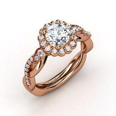 Round Diamond 14K Rose Gold Ring with Diamond | Lucinda Ring | Gemvara