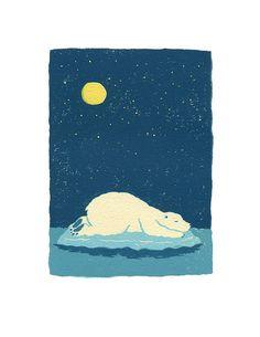 Polar bear sleeping - Limited Edition Print (number 16/50). $25.00, via Etsy.