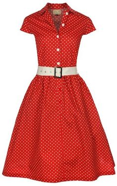 NEW CLASSIC RED POLKA DOT VINTAGE WW2 1940s 1950s BELTED TEA SHIRT COTTON DRESS