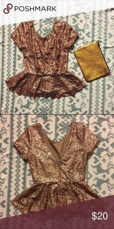 F21 Gold/Rose Gold Sequin Peplum Top ❗️Marked Zara for exposure❗is actually FOREVER 21. ️Super cute gold-ish/rose gold sequin peplum blouse! Perfect for the night out. V back with zipper. There's a loose thread on the side, but it can probably just be cut. Excellent condition! Zara Tops Blouses