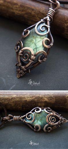 Bronze wire wrapped labradorite #necklace