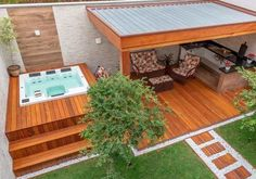Hot Tub Backyard, Backyard Seating, Small Backyard Pools, Backyard Patio, Backyard Landscaping, Terrace Garden Design, Patio Design, Home Decor Dyi, Small Pool Design