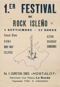 #CARTEL #MALLORCA #OCHENTAS #80's #CROWDFUNDING #VERKAMI - Cartel del concierto celebrado el 4 de Septiembre de 1982 en S'Hostalot y anunciado como 1er Festival de Rock Isleño. En el mismo participarian Cascai blanc, Goma, Rogy way, Eclipse, Acero, Shangai y Grupo sanguineo. - MallorcaNochentas Reinventando los 80s - CD 20 grupos rinden homenaje a 20 grupos de los Nochentas +INFO: www.mallorcanochentas.com  Campaña crowdfunding www.verkami.com/projects/3629