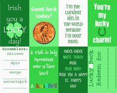 Crafts & Sutch: St. Patrick's Day Lunchbox Notes {Printable}