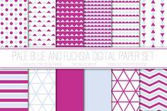 Modern Digital Paper, Pale Blue and Fuchsia, Hot Pink, Geometric Patterns, Scrapbook Paper, Triangles, Card Design, Web Design