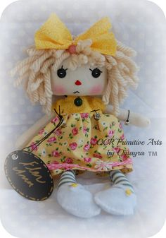 Flor Ann Cloth Art Rag Doll OOak button eye by OCRPrimitiveArts, $45.00