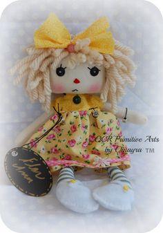 Flor Ann Cloth Art Rag Doll OOak button eye by OCRPrimitiveArts, $45.00