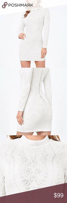 Bebe Alana Jacquard Dress euc // like new. worn once. sophisticated jacquard-jersey, detailed w/ baroque motifs. mock neck, back hook-and-eye and zip closure, lined. 74% nylon, 18% polyester, 8% spandex. bebe Dresses Long Sleeve