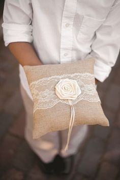 Rustic Country Wedding Ring Pillow - https://www.howdivine.com.au/store/product/rustic-country-wedding-ring-pillow #RusticPillow