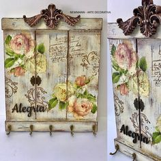 Decoupage Vintage, Decoupage Art, Decoupage Furniture, Painted Furniture, Wooden Crafts, Diy And Crafts, Diy Necklace Holder, Shabby Chic Crafts, Painting On Wood