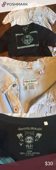 Guess Jeans polo & tee Men's Guess jeans polo shirt and tee. both are 2XL and worn once. light material, 100% cotton for both. pics show the graphics on the front of the shirts, no graphics on the back. selling them together Guess Shirts Polos