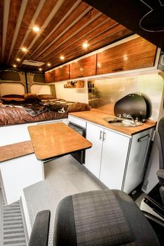 Adorable Wood Interior Ideas For Sprinter Van Camper - adventure and living Camping Con Glamour, Sprinter Camper, Mercedes Sprinter, Vanz, Van Home, Camper Van Conversion Diy, Sprinter Van Conversion, Camper Storage, Camping Table
