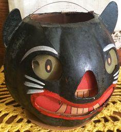 Vintage Halloween Early German Paper Mache Cat Lantern Pre 20s Original Insert | eBay