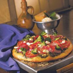 Vegetable and Goat Cheese Pizza http://www.prevention.com/food/high-protein-dinner-recipes/vegetable-and-goat-cheese-pizza