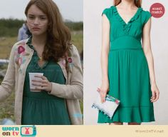 Emma's green ruffle front dress on Bates Motel. Outfit Details: http://wornontv.net/28755 #BatesMotel #fashion