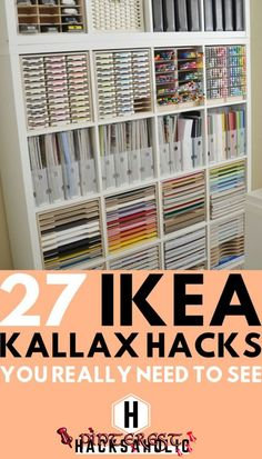 There are so many great Ikea Kallax hacks out there but which are the best? We've brought together the very best Ikea Kallax hacks for you in one place. You can create so many gorgeous and practical pieces of furniture with an Ikea Kallax. Hacks Ikea, Ikea Kallax Hack, Diy Hacks, Ikea Shelf Hack, Ikea Hack Bathroom, Ikea Billy Hack, Ikea Billy Bookcase Hack, Ikea Craft Room, Craft Room Storage