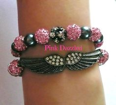 Pink Pave Crystal and Pearl Angel Wing Bracelet Set by PinkDazzled, $17.99