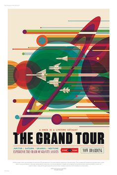 To visit space and explore remains a distant dream for all of us. Nasa has now released a series of retro travel posters. The colourful space-themed travel posters for Nasa's Jet Propulsion Laboratory were created by Invisible Creature. Space Tourism, Space Travel, Air Travel, Free Travel, Budget Travel, Travel Ideas, Poster Retro, Vintage Posters, Print Poster