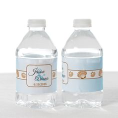 Add some cute seashell-adorned water bottle labels to your seaside wedding. Customize them with your names, date, and wedding colors!