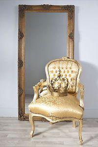 Large Antique Gold Ornate Dressing / Floor Leaner Mirror - Amelia