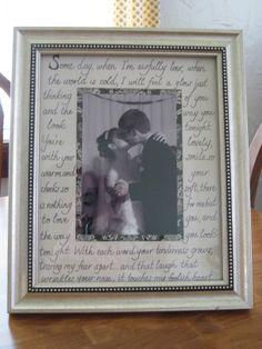 Wedding Frame with First Dance Lyrics!