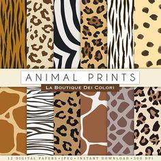 Animal Prints Digital Paper   Mygrafico   Mygrafico