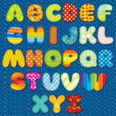 Stitches Patchwork Font, Vector Colorful Motley Alphabet for your Design and Text by PILart, via Shutterstock Fabric Letters, Letters And Numbers, Nursery Art, Your Design, Blog Design, Design Elements, Vector Free, Clip Art, Stitch