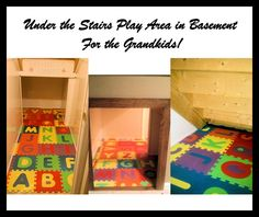 While refinishing the basement, we decided to make the area under the stairs a play area for the grandkids.  There are two entrances....one is low and the other is a normal doorway.  We put the shiny white paneling on it (washable crayons work great!) and the kids can write and erase all over the walls.  The floor is just foam alphabet squares laid over the vinyl floor we put down.